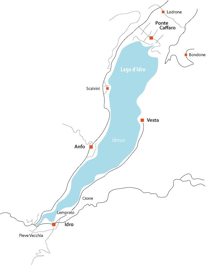 Bild zeigt eine Karte vom Idrosee